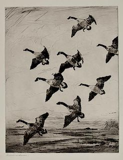 Frank W. Benson (1862-1951) Hovering Geese