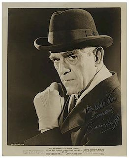 "Boris Karloff Inscribed and Signed ""Lured"" Publicity Photo."