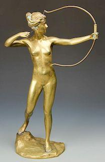 After Hans Keck Bronze Diana Statue