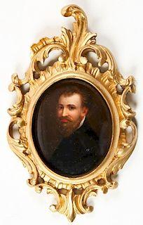 19th C Italian Rococo Framed Portrait Plaque