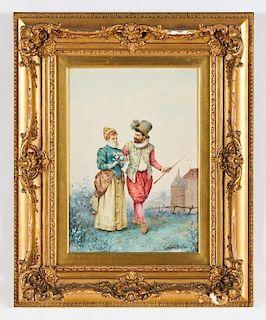 Louis Robert de Cuvillon (1848-1931) Portrait of a Man and Woman, 1886