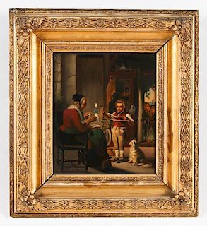 Antique German School Genre Painting