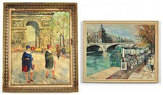 2 French School Plein Air Paintings
