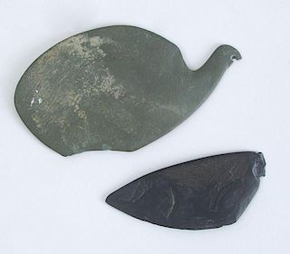 TWO EGYPTIAN FRAGMENTARY SCHIST COSMETIC PALETTES