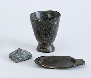 GROUP OF THREE CARVED STONE OBJECTS