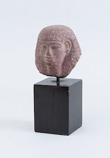 EGYPTIAN STYLE CARVED RED GRANITE HEAD OF A PHARAOH