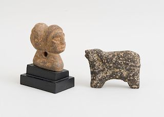 TWO PRIMITIVE CARVED STONE FIGURAL OBJECTS