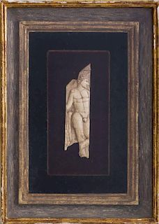 GRAECO-EGYPTIAN CARVED BONE PANEL OF A STANDING FIGURE OF A MAN
