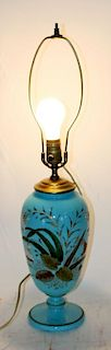 French blue opaline painted glass lamp