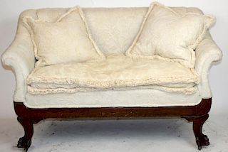 American tiger oak settee with paw feet