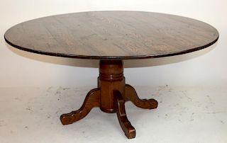 Oak pedestal base dining table
