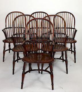 Set of 6 English oak Windsor armchairs