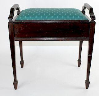 English mahogany vanity bench