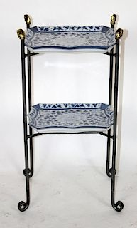 Maitland Smith iron 2-tier table with porcelain