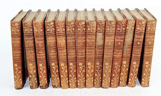 Set of 14 leather bound books