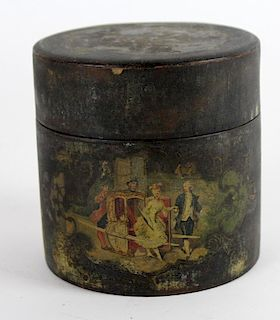 Antique English painted leather button box