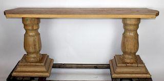 Double pedestal console table