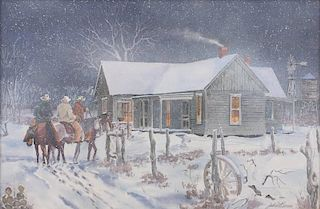 Jodie Boren b. 1926 | Winter Ranch Scene