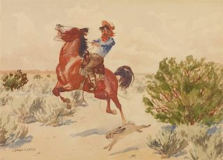 Leonard H. Reedy 1899 - 1956 | A Startled Bronco