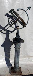 Verdigris bronze armillary sundial on pedestal