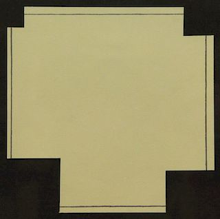 """MANGOLD, Robert. """"A Square with Four Squares Cut"""