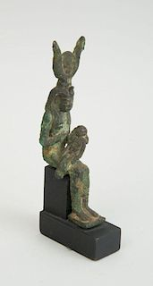 EGYPTIAN SMALL BRONZE GROUP OF ISIS AND HORUS