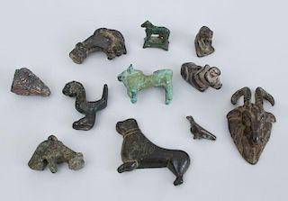 LARGE GROUP OF ANCIENT BRONZE ANIMALS