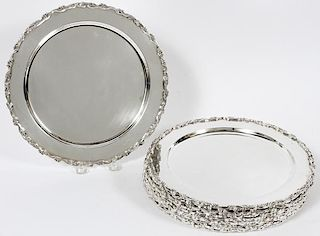 MEXICAN STERLING SERVICE PLATES 12 PIECES