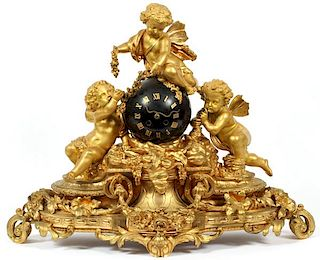 FRENCH BRONZE MANTEL CLOCK 19TH CENTURY