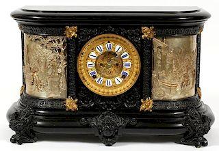 ANSONIA CLOCK CO. FIGURAL RELIEF MANTLE CLOCK