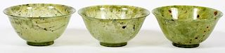 CHINESE CARVED SPINACH JADE BOWLS 3 PIECES