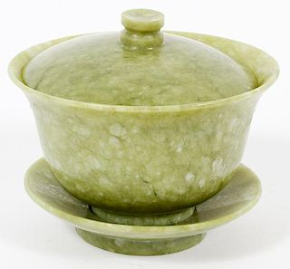 CHINESE CARVED JADE RICE BOWL COVER AND UNDERPLATE