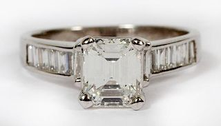 1.16 EMERALD CUT DIAMOND AND 18KT WHITE GOLD RING