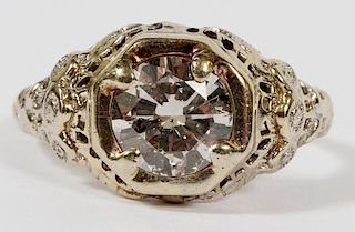 BRILLIANT DIAMOND AND 14KT WHITE GOLD FILIGREE RING