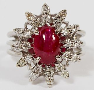 18K WHITE GOLD CABOCHON RUBY AND DIAMOND RING