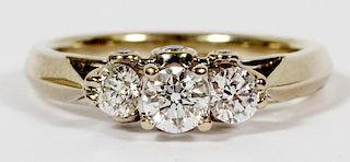 .85 CT PAST PRESENT FUTURE 14K DIAMOND RING
