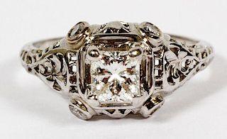 DIAMOND AND WHITE GOLD FILIGREE ENGAGEMENT RING