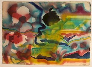 TWO SIDED KEITH CROWN (1918-2010) WATERCOLOR, TAOS 1969