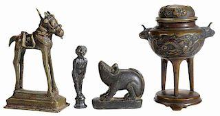 Three Bronze Figures, Carved Stone