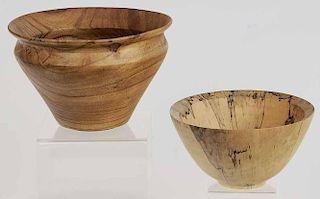 Pair Studio Wood Turned Bowls
