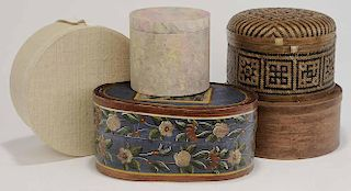 Group Four Covered Hat Boxes One Grass