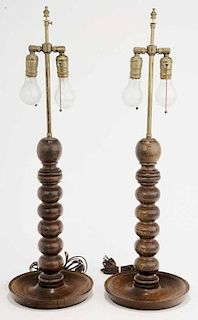 Pair of Turned Wood Table Lamps