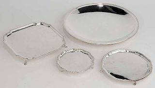 Four Silver-Plated Trays