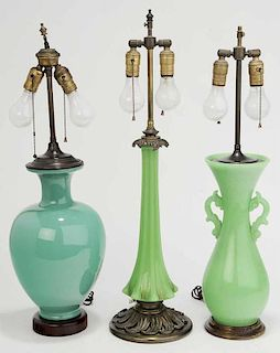 Group of Three Table Lamps