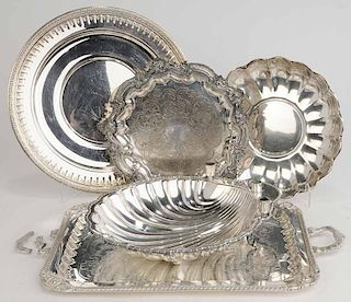 Five Silver-Plate Trays/Center Bowl
