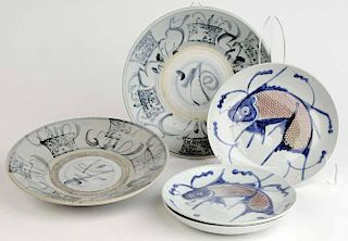 Group Two Chinese Bowls and Three Koi
