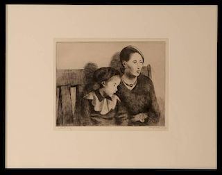 RAPHAEL SOYER (1899-1987) PENCIL SIGNED DRYPOINT ETCHING