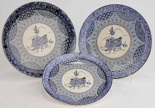 Three Japanese Platters, Blue Transfer