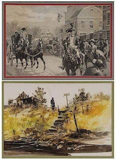 Two Framed Prints of Barn and Colonial