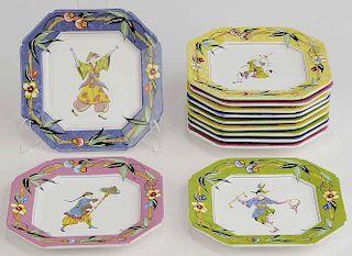 Set Twelve Octagonal Dinner Plates